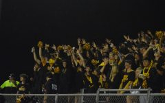 The student section cheers from the stands, decked out in black and gold.